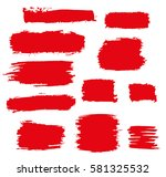 red vector brush strokes of... | Shutterstock .eps vector #581325532