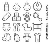 baby line icons. pacifier ... | Shutterstock .eps vector #581325892