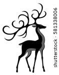 black deer | Shutterstock .eps vector #581338006