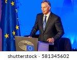 brussels  belgium. january 25 ... | Shutterstock . vector #581345602