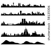 city skyline cityscape vector | Shutterstock .eps vector #58135306