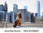 young female tourist enjoy...   Shutterstock . vector #581353885