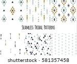set of modern seamless hand... | Shutterstock .eps vector #581357458
