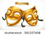 Gold Theatrical Masks. Comedy...