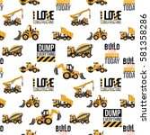 seamless pattern with road... | Shutterstock .eps vector #581358286