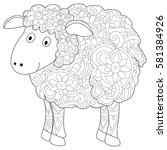 ram animal coloring book for... | Shutterstock .eps vector #581384926