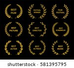 film awards.gold award wreaths... | Shutterstock .eps vector #581395795