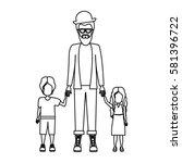 people man with her children... | Shutterstock .eps vector #581396722