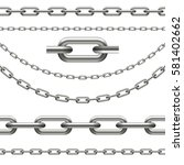 collection of chains curved ... | Shutterstock .eps vector #581402662