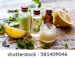 organic cosmetics with lemon... | Shutterstock . vector #581409046