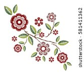 embroidery patch vintage... | Shutterstock .eps vector #581411362
