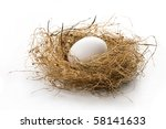 Close up of white egg laying in bird nest on white background with soft shadow. - stock photo
