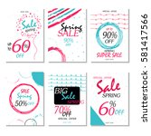 set of 6 spring discount cards... | Shutterstock .eps vector #581417566