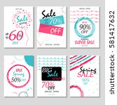 set of 6 spring discount cards...   Shutterstock .eps vector #581417632