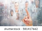 close up of a man selecting a... | Shutterstock . vector #581417662