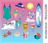 seafood set  palm tree  dolphin ... | Shutterstock .eps vector #581422288
