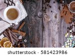 grey wooden background with...   Shutterstock . vector #581423986