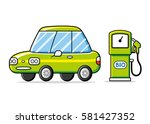 green car and bio fuel pump... | Shutterstock .eps vector #581427352