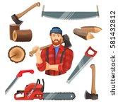 axeman instruments set. axeman... | Shutterstock .eps vector #581432812