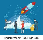 start rocket ship in a flat... | Shutterstock .eps vector #581435086