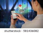 businesswoman using mobile... | Shutterstock . vector #581436082