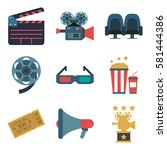 set cinema color icons  design... | Shutterstock .eps vector #581444386