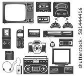 set of gadget of 90s monochrome ...   Shutterstock .eps vector #581444416