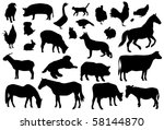vector farm animals | Shutterstock .eps vector #58144870