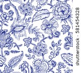 seamless pattern with fantasy... | Shutterstock .eps vector #581454328