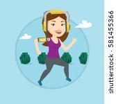 woman running with earphones... | Shutterstock .eps vector #581455366