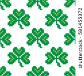 seamless pattern with pixel... | Shutterstock .eps vector #581455372