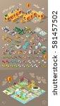 isometric world on dark... | Shutterstock .eps vector #581457502
