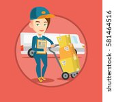 delivery courier with cardboard ... | Shutterstock .eps vector #581464516