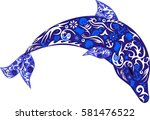 dolphin in the jump  a marine... | Shutterstock .eps vector #581476522