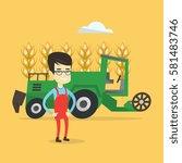 asian farmer standing on the... | Shutterstock .eps vector #581483746