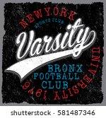 new york  varsity sport vector... | Shutterstock .eps vector #581487346
