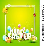 cute easter template with...   Shutterstock .eps vector #581509336
