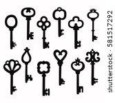 retro vintage keys silhouettes... | Shutterstock .eps vector #581517292