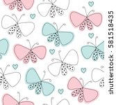 Stock vector seamless butterfly pattern vector illustration 581518435