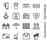 cardboard icons set. set of 16... | Shutterstock .eps vector #581526628
