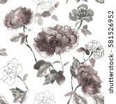 floral seamless pattern with... | Shutterstock . vector #581526952