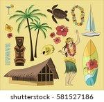 hawaiian  hawaii set | Shutterstock .eps vector #581527186