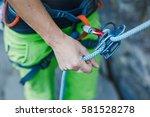 rock climber wearing safety... | Shutterstock . vector #581528278