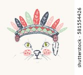cute indian cat hand drawn... | Shutterstock .eps vector #581554426