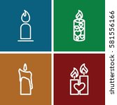 Candles Icons Set. Set Of 4...