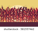 corn field evening or morning... | Shutterstock .eps vector #581557462