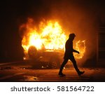 burning car  unrest  anti... | Shutterstock . vector #581564722
