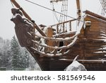 old ship in the snow | Shutterstock . vector #581569546