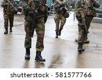 belgian soldiers guard european ... | Shutterstock . vector #581577766