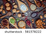 various legumes and different... | Shutterstock . vector #581578222